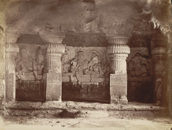 [Front of South shrine of Hindu Cave XXI (Ramesvara), Ellora.]